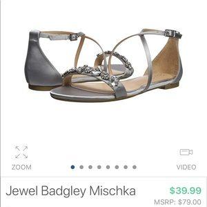 Jewel Badgley Mischka flat silver sandals